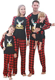 Matching Family Christmas Pajamas Set Xmas Pjs Long Sleeve Tops Red Plaid Pants Sleepwears Jammies for Family