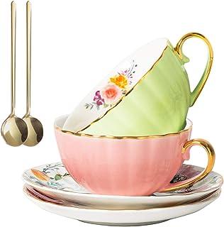 Tasses à thé à café, tasses à expresso en porcelaine lot de 2, (8 oz) avec garniture en or et boîte-cadeau, tasses à thé e...