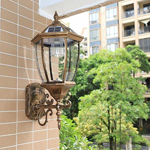 light Solar Wall Lamp Outdoor Solar Exterior Wall Lamp Wall Lamp Villa Waterproof Garden Lamp Balcony Wall Lamp,Large Bronze