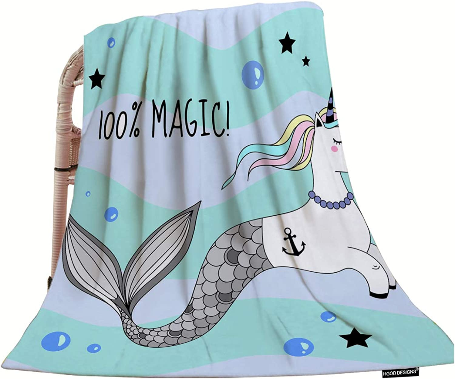 HGOD DESIGNS Unicorn Throw Blanket,A Cute Unicorn with A Mermaid Tail and A Rainbow Mane Soft Warm Decorative Throw Blanket for Bed Chair Couch Sofa 50 X60