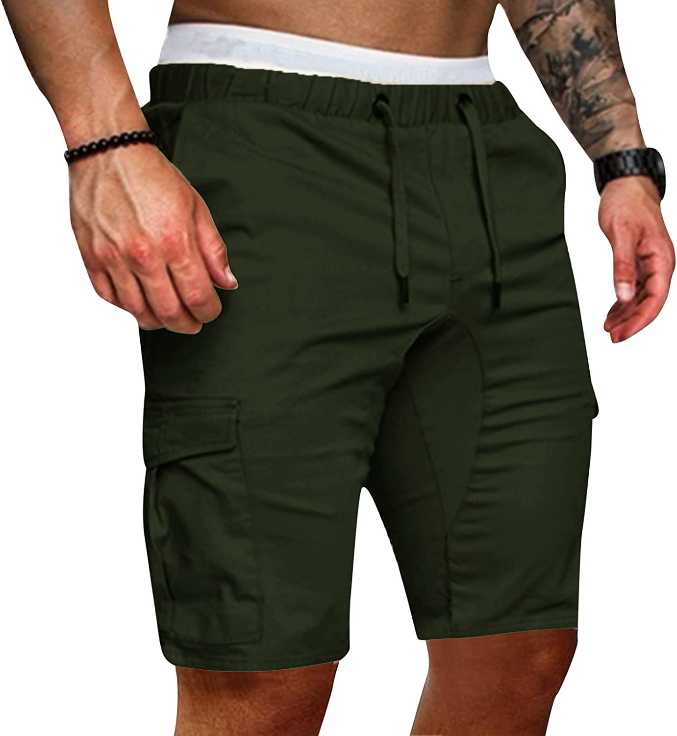 FUNEY Cargo Shorts for Men with Pockets,Casual Drawstring Elastic Waist Workout Athletic Summer Fashion Shorts Pants