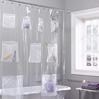 Cedmon Waterproof Fabric Shower Curtain or Liner with 9 mesh Pockets, 70 × 72 inch