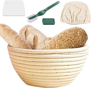 Latocos 10 Pulgadas Cesta a Prueba de Pan con Forro de Tela Raspador de Masa para Panadería Profesional y Casera