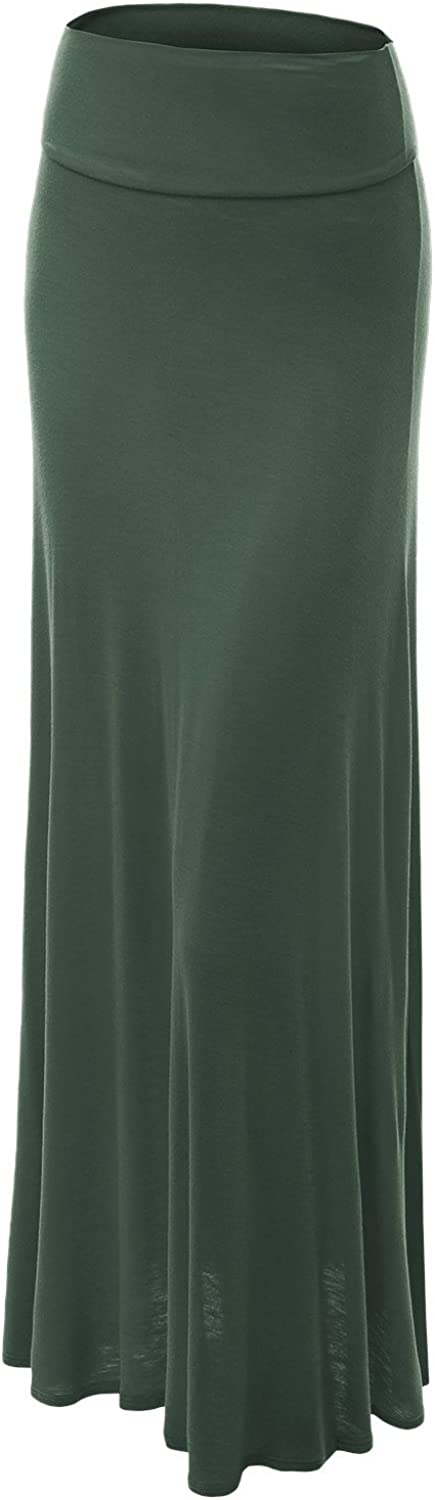 Made by Johnny MBJ WB670 Womens FoldOver Maxi Skirt XXXL OLIVE
