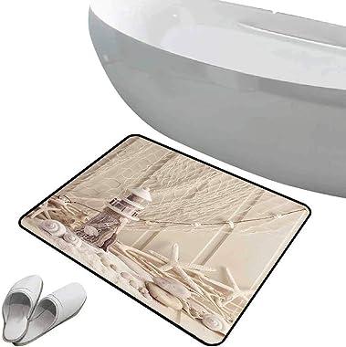 Tapis de bain antidérapant Paillasson Décor de filet de pêche sol antidérapant en caoutchouc Thème marin étoiles de la mer et