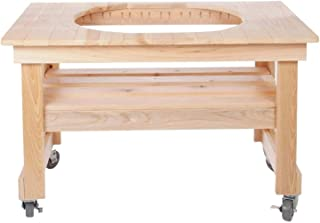 Primo 605 Cypress Wood Table for Primo Oval Junior Grill, 4 Wheels