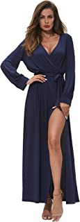 Women Off Shoulder Boho Maxi Dress Floral Long Sleeve Casual Dresses Slit Split with Belt