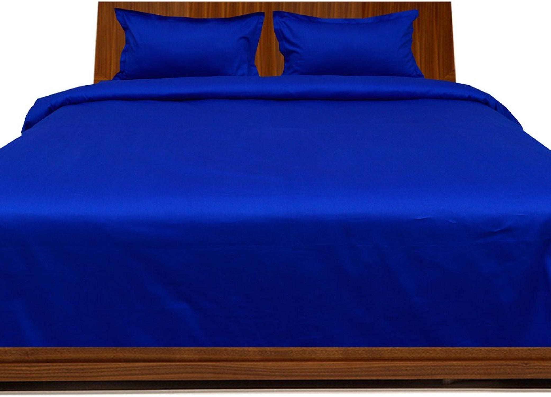 Linge de lit en coton égypcravaten 350 fils 30 cm Pocket Sheet enfoncés avec taie d'oreiller Motif Bleu roi Double petit 100%  coton 350TC massif