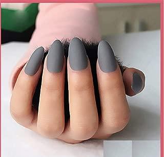VIKSON INTERNATIONAL 24 Pcs/Set of Grey Matte Nail Art Design Acrylic Full Fake Nail Tips with nail glue