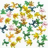 COOKY.D 50pcs Pequeño Plástico Salto Rana Juguetes 0.9 'Colorido Elástico Animal Insecto Juguetes Set para Niños