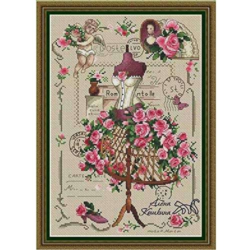 Yuelso Gezählt Kreuzstiche Kit Die Rote Schneiderei Brautkleider Lady Rock mit Rose (Cross Stitch Fabric CT Number : 18CT unprint Canvas)
