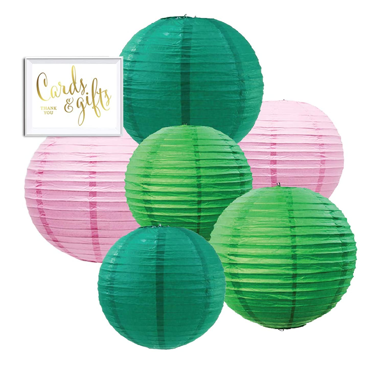 Andaz Press Emerald Green, Kiwi Green, Blush Pink Hanging Paper Lanterns Decorative Kit, 6-Pack with Free Gifts Table Party Sign, Cactus, Hawaiian Luau, Tropical, Boho Birthday Party Decorations