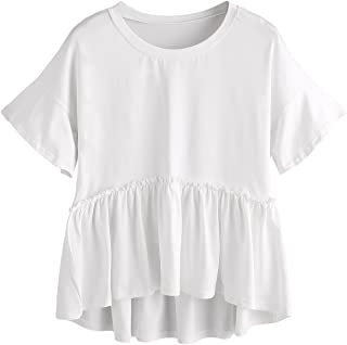 Women's Loose Ruffle Hem Short Sleeve High Low Peplum Blouse Top