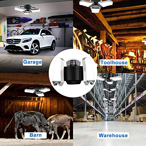 LED E26 Garage Bulb Lights with 3 Adustbale Panels 60w(60w Eqv 200w) 5000K 6000LM for Garage Basement and Barn (2 Pack) 7