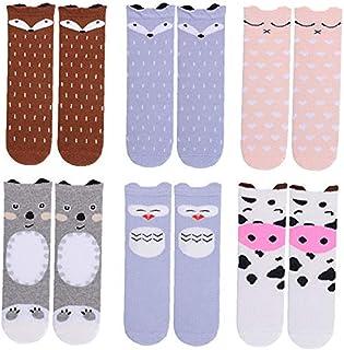 OMMO LEBEINDR, 6 pares calcetines dibujos animados patrón lindo lo largo la rodilla caliente rodilla Calcetines unisex los bebés Calcetines del niño pequeño animal calcetines altos (1-3 años) -Color surtidos, ropa