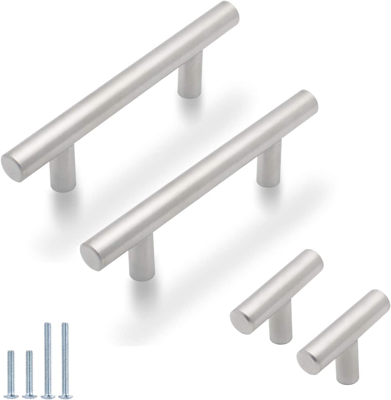 Probrico 30 Pack  3 Inch Euro T Bar Cabinet Pulls and 10 Pack  Single Hole Cabinet Knobs Bundle, Stainless Steel Kitchen Cabinet Handles Satin Nickel Drawer Pulls Knobs