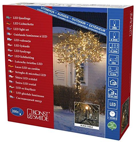 Konstsmide 3613-800 Micro LED Lichterkette / für Außen (IP44 / VDE geprüft / 24V Außentrafo / 200 bernsteinfarbene Dioden / schwarzes Kabel