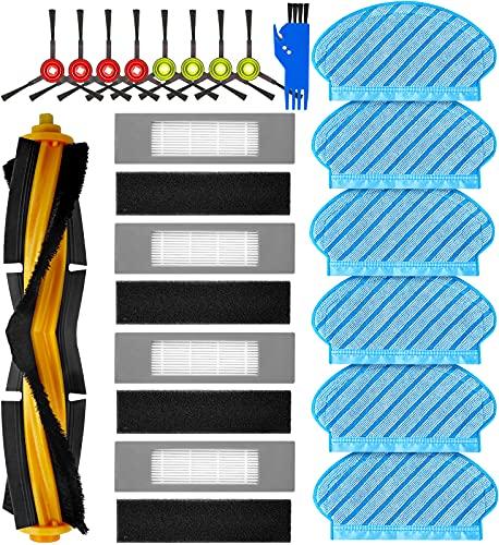 KGC 20 Stück Ersatzteile Zubehör für Ecovacs Deebot OZMO 950 920 Staubsauger Roboter, Yeedi 2 Hybrid Saugroboter,1 Hauptbürste + 4 Filter + 8 Seitenbürste + 6 Reinigungstuch + 1Reinigungsbürste