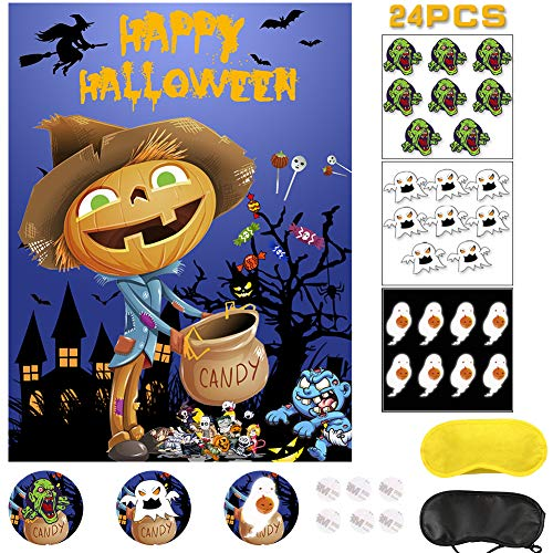 Asubaby Pin the Pumpkin Game for Halloween Decorations Kids Birthday Pumpkin Party Supplies Large Halloween Game Pumpkin Poster 24 Funny Ghost Stickers
