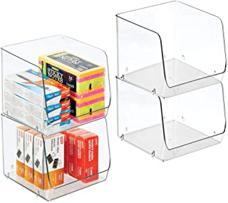 "$34 » mDesign Large Stackable Plastic Home, Office Storage Organization Bin Basket with Wide Open Front - for Cabinets, Closets, Drawers, Desks, Tables, Workspace - Cube - 7.75"" Wide - 4 Pack - Clear"