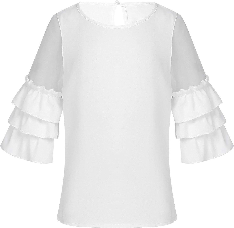 easyforever Children Girls Ruffles 3/4 Bell Sleeves Mesh Splice Top Shirt Blouse Spring Summer Casual Wear