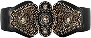 Maikun Women's Wide Stretch Elastic Waist Cinch Belt Fashion Vintage Metal Buckle Dress Belt Christmas