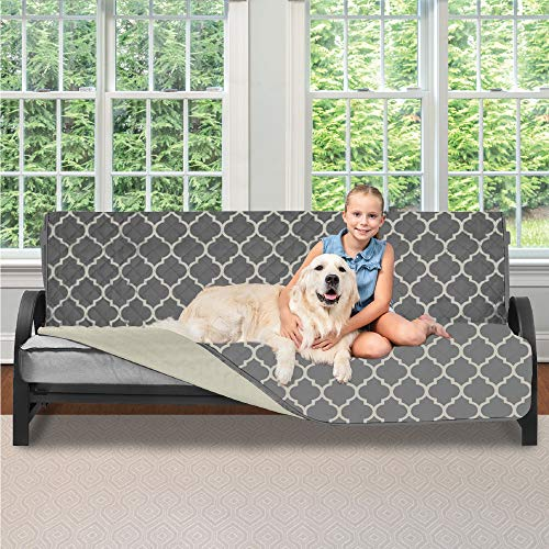 Sofa Shield Original Patent Pending Reversible Futon Protector for Seat Width up to 70 Inch, Furniture Slipcover, 2 Inch Strap, Daybed Couch Slip Cover Throw for Pets, Futon, Quatrefoil Charcoal Linen