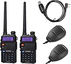 BaoFeng 2 Pack UV-5RTP+1 Cable+2 speaker 2 Pack Uv-5Rtp Tri-Power 8/4/1W Two-Way Radio Transceiver,Black