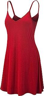 Lock and Love Women's V Neck Spaghetti Strap Cami Tunic Short Slip Dress - Made in USA