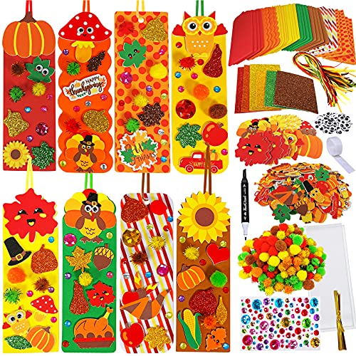 36 Sets Fall Decorations DIY Bookmarks Fall Craft Kit Blank Foam Bookmarks with Assorted Maple Leaf Smile Face Owl Turkey Acorn Pumpkins Stickers for Kids Art Reading Rewards Thanksgiving Gift Favors