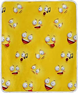 ZZAEO Seamless Smiley Emotion Face Yellow Throw Blanket Home Decor Soft Cozy Warm Blanket for Bed Couch Sofa Office Travel Camping - 60 x 50 Inch