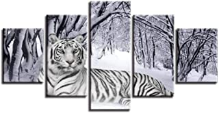 Siyse Wulian Painting Canvas Paintings Living Room Wall Art 5 Pieces Snow Forest White Tiger Poster Modular HD Prints Animal Pictures Home Decor -4X6/8/10Inch-With Frame