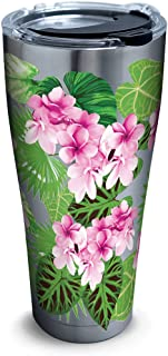 Tervis Tropifloral Stainless Steel Tumbler with Clear and Black Hammer Lid 30oz, Silver
