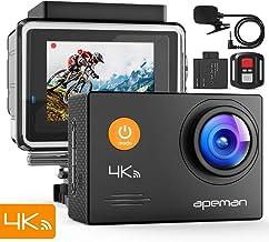 APEMAN Action CAM A79, 4K UHD WiFi 16 MP con Mando a Distancia y micrófono Externo 40 m, Impermeable, cámara Sumergible EIS estabilizada videocámara