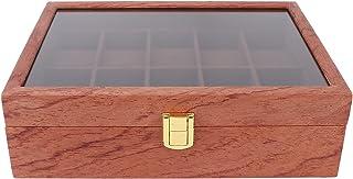 Klocklåda, klockförvaringsfodral Smycken Vitlåda Lätt att bärbar Klocka Dislpay-låda med glaslock för affärsresa för konto...