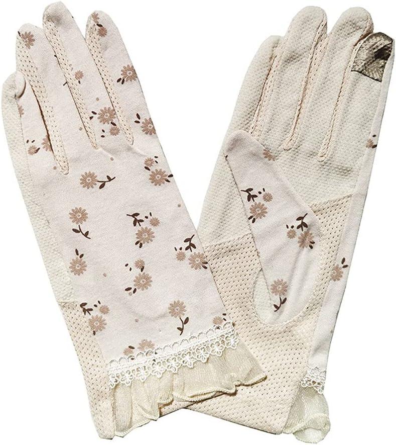 FEIMJLLK Fingerless Gloves for Women 2Pc Fashion Flowers Women's Summer Driving Gloves Non-Slip Touch Screen Gloves Breathable Cotton Gloves for Women