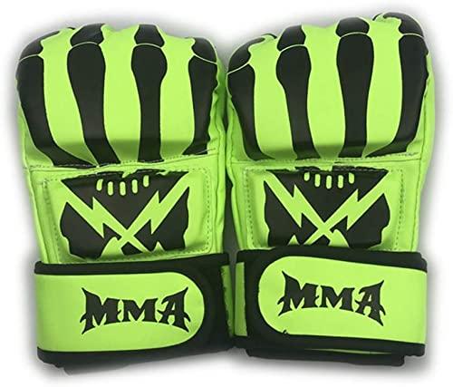 JINYIJUN Five Finger Gants de Boxe Fight Sanda Adulte Gants de Boxe Muay Thai MMA Gants à Doigts Vert Orange
