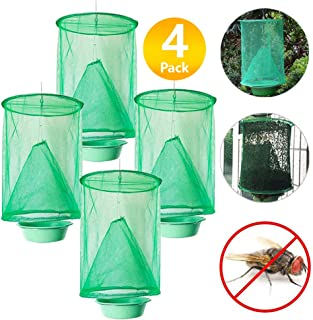 Quvivior Ranch Fly Trap Made with Food Bait Catcher The Most Effective Reusable Ranch Green Cage with Pots Indoor Farms Park