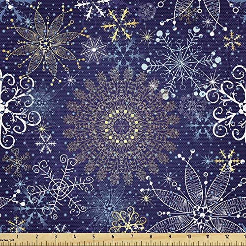 Ambesonne Dark Blue Fabric by The Yard, Christmas Inspired Pattern with Ornate Curly Snowflakes Mandala Style, Decorative Fabric for Upholstery and Home Accents, 10 Yards, Indigo White