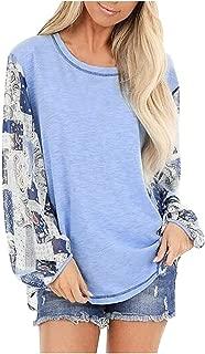 OULSEN Women Fashion Blouse Printing Long Sleeve Splice T-shirt Spring Casual Loose Tunics Top Shirt