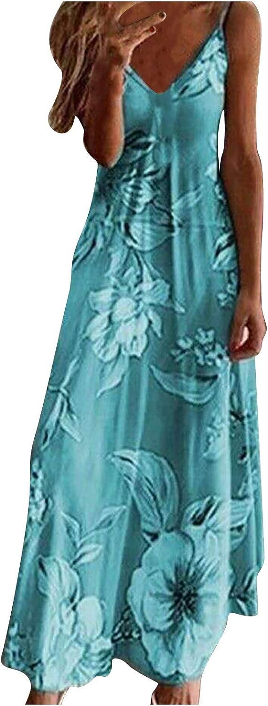 Tavorpt Summer Dresses for Women Sleeveless Casual Maxi Dress Floral Printing Party Beach Cami Long Dress Sexy Sundress