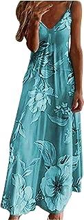 STKOOBQ Vestido maxi plus size para mulheres, casual, sem mangas, estampado, gola V, vestido longo, Azul, XXG