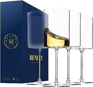 Superlative Edge Wine Glasses Square [Set of 4] White & Red Wine Goblets, Premium Clear Glass Bordeaux Wine Glasses Large ...