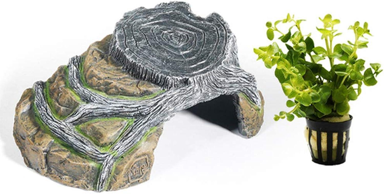 Reptile Cave Shelter Basking Platform Hideouts,Decor Polyresin Cave, Turtlepier,S M L XL,S