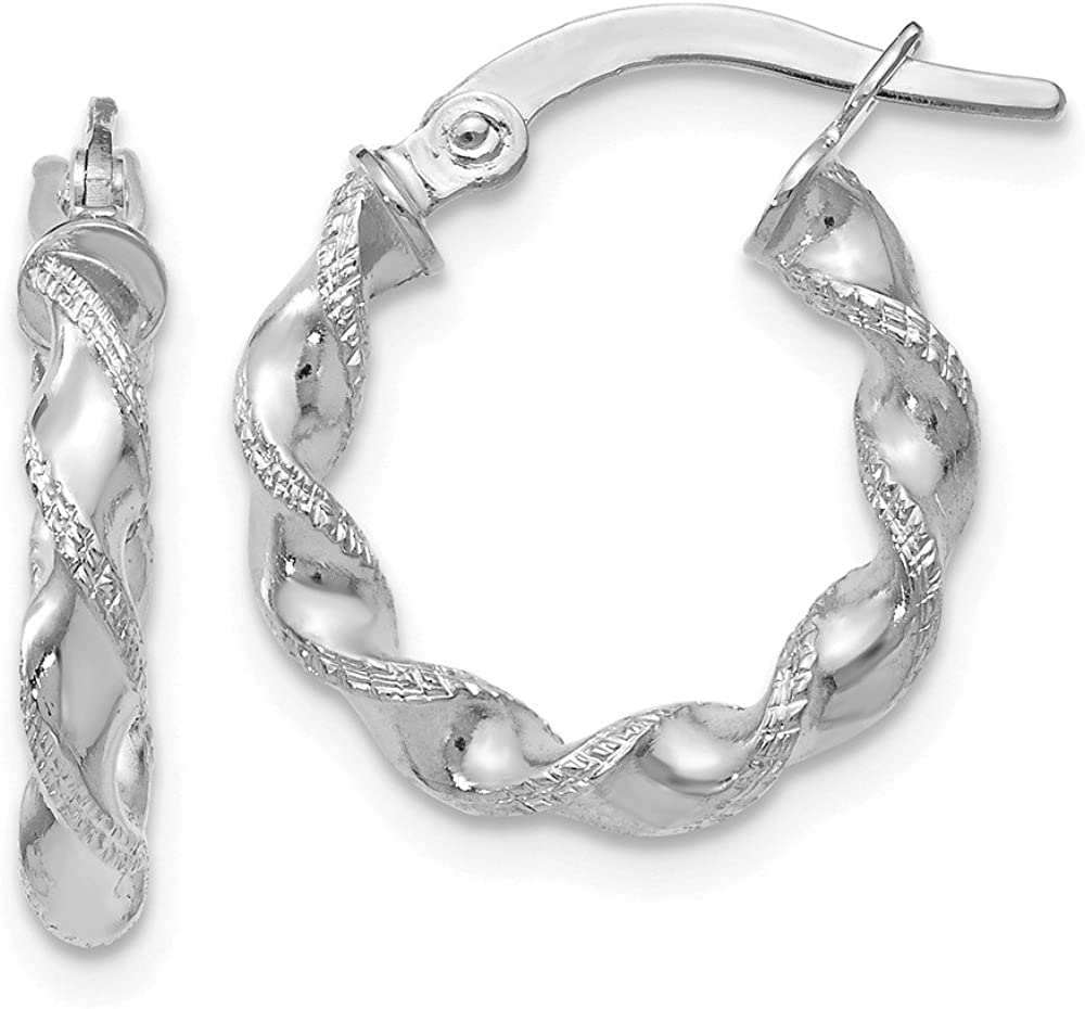 FB Long-awaited Jewels Solid 10K White Gold and Twisted Dallas Mall Hin Polished Textured