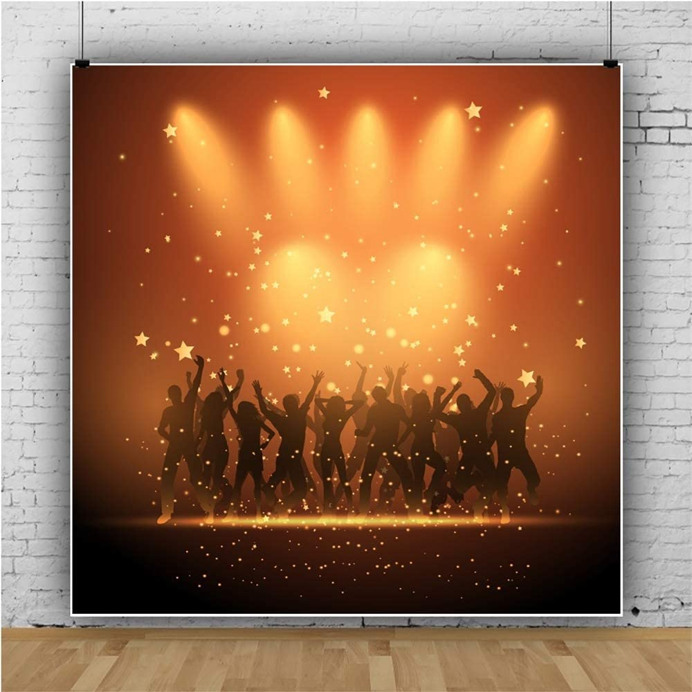 Leowefowa 10x10ft 80 90s Disco Party Backdrop Vinyl Cartoon Dancing People Interlaced Spotlights Photography Background Lets Roll Party Banner Wallpaper Karaoke Nightclue Decor Studio Photo Props