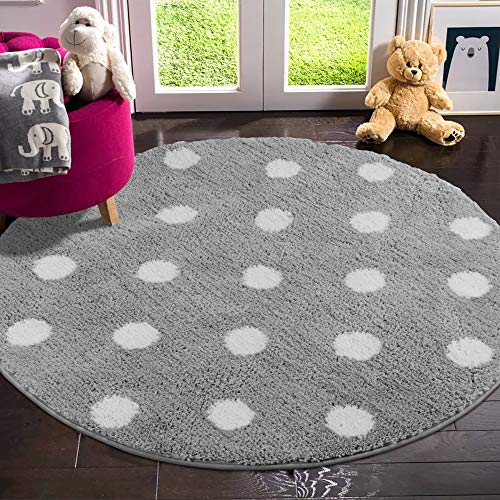 LIVEBOX Polka Dots Round Area Rugs, 4ft Diameter Kids Play Mat Soft Plush Baby Crawling Mat Non-Slip Throw Carpet for Teen Girl Living Room Bedroom Playroom Nursery Decor Best Shower Gift(Gray)