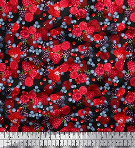 Soimoi Schwarz Baumwoll-Popeline Stoff Himbeere, Erdbeere und Kirsche Obst Drucken Nahen Stoff 1 Meter 42 Zoll breit