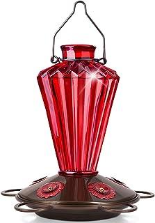 BOLITE 18017-R Hummingbird Feeder, Glass Hummingbird Feeder for Outdoors, Diamond Shape Bottle, 20 Ounces, Red