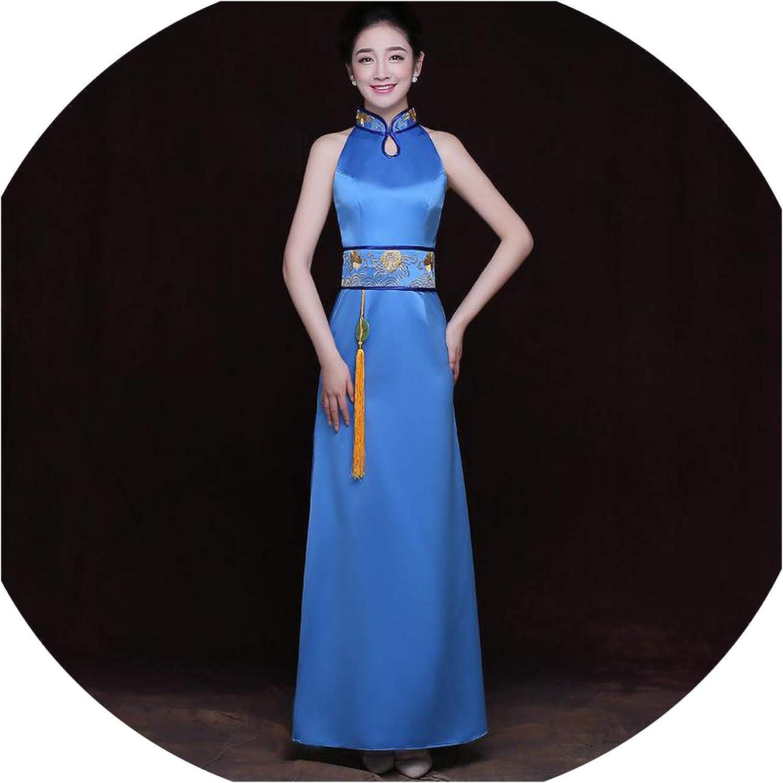 colorfulspace Improved Cheongsam Satin Sleeveless Pendant Gowns Embroidery Mandarin Collar Qipao Performance Dress Vestidos